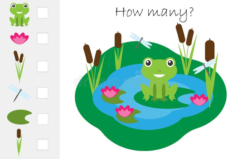 Ile daje zadanie dla rozwoju logiczny główkowanie odliczająca gra, staw z żabą dla dzieciaków, edukacyjne matematyki, preschool ilustracji