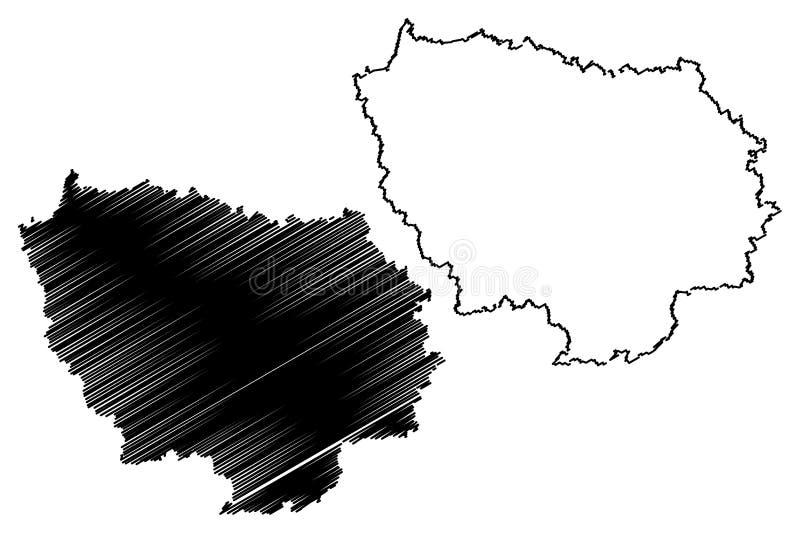 Ile-de-France mapy wektor ilustracja wektor