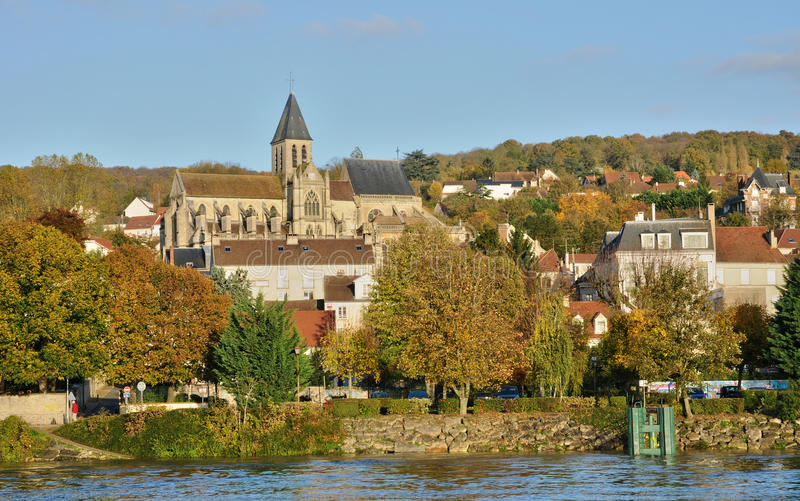 Ile De France, miasto Triel sura wonton zdjęcie stock