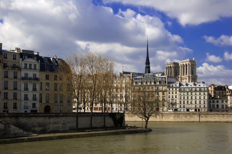 Ile de la Cite e cattedrale del Notre Dame, Parigi fotografia stock
