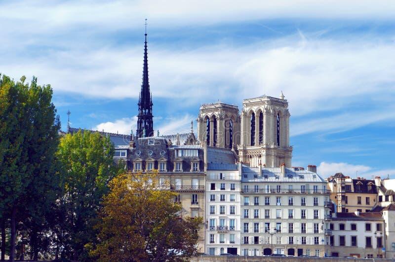 Ile de la Cite y Notre Dame en París fotografía de archivo