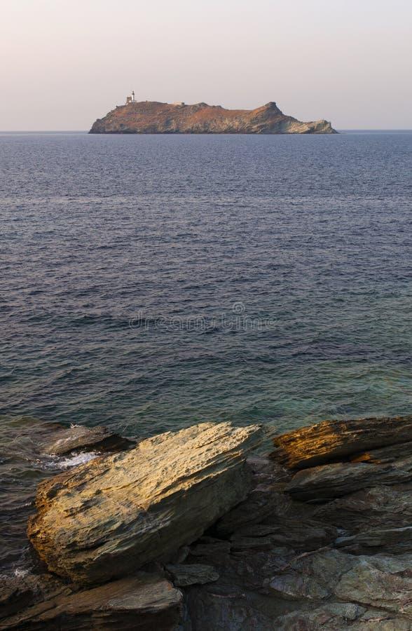 Ile de la Giraglia, Giraglia island, lighthouse, Barcaggio, Ersa, Cap Corse, Cape Corse, Haute-Corse, Corsica, France, Europe. Corsica, 29/08/2017: sunset on the stock photo