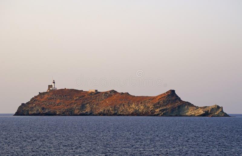 Ile de la Giraglia, Giraglia island, lighthouse, Barcaggio, Ersa, Cap Corse, Cape Corse, Haute-Corse, Corsica, France, Europe royalty free stock photography