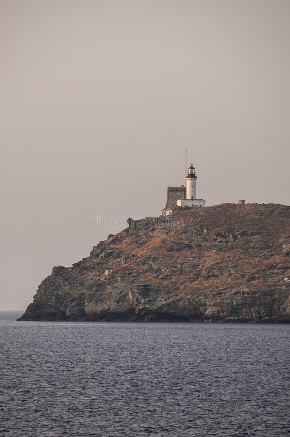 Ile de la Giraglia, Giraglia island, lighthouse, Barcaggio, Ersa, Cap Corse, Cape Corse, Haute-Corse, Corsica, France, Europe. Corsica, 29/08/2017: sunset on the royalty free stock image
