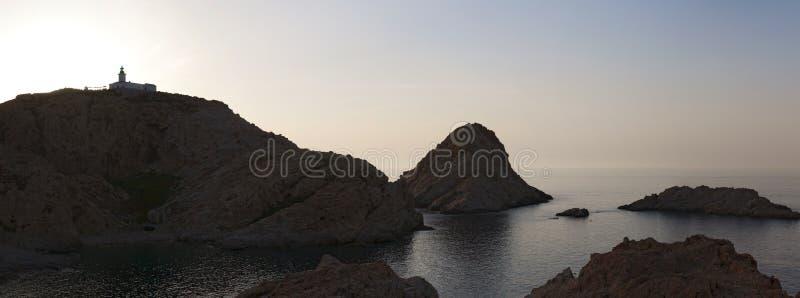 Ile de la Pietra, isola di pietra, Ile-Ruse, isola rossa, Corsica, Corsica superiore, Francia, Europa, isola immagini stock libere da diritti