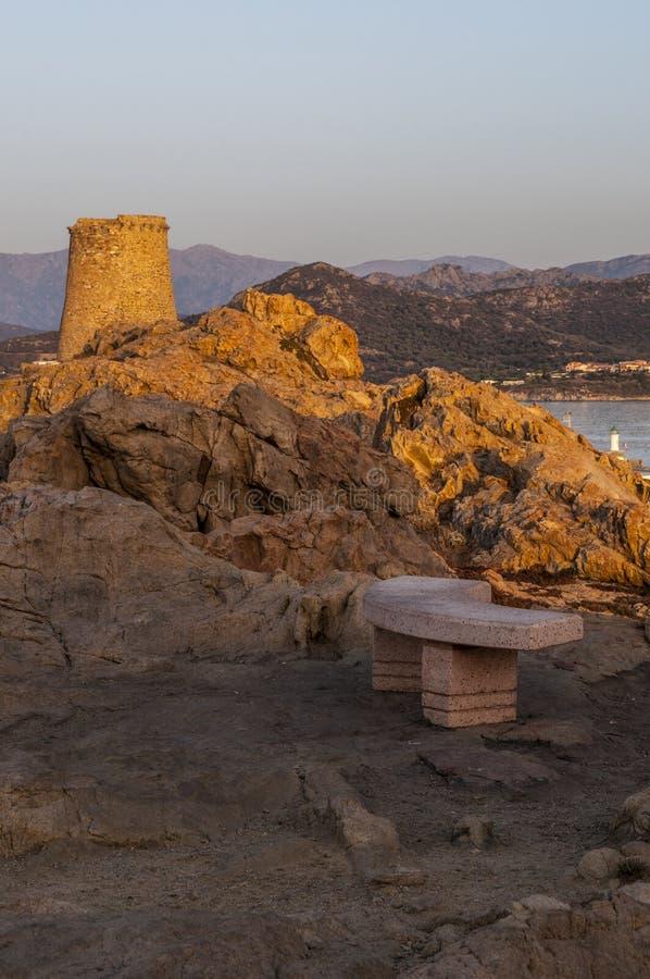 Ile De Los angeles Pietra, Kamienna wyspa, Ile-Rousse, Czerwona wyspa, Corsica, Górny Corsica, Francja, Europa, wyspa fotografia royalty free