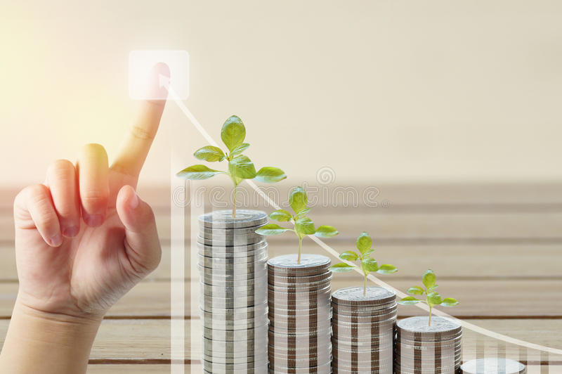 Ile of money coins and tree growing with finger pointing stock photos
