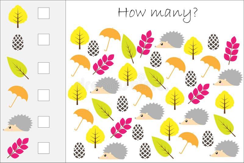 Ile obrazuje dla dzieciaków odliczająca gra z jesienią, edukacyjny maths zadanie dla rozwoju logiczny główkowanie, preschool wo ilustracji