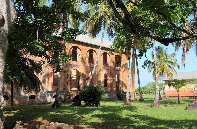 French Guiana, Royal Island: Ruins of Military Hospital. Ile Royale Royal Island is the largest and westernmost island of the three ÃŽles du Salut, in the stock image
