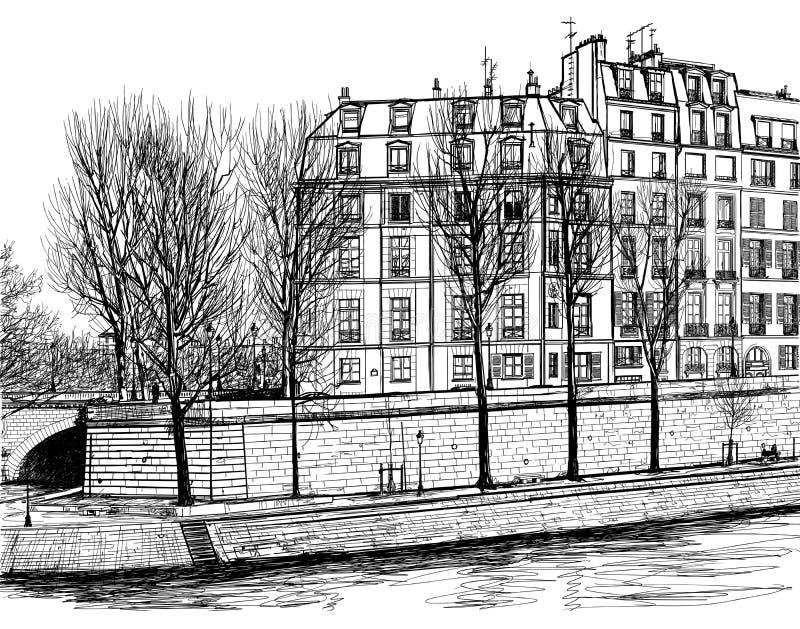 Download Ile Saint Louis in Paris stock vector. Illustration of building - 21514399