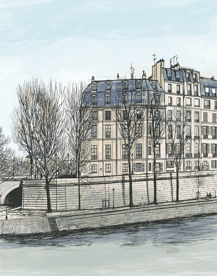 Ile St. Louis in Paris lizenzfreie abbildung
