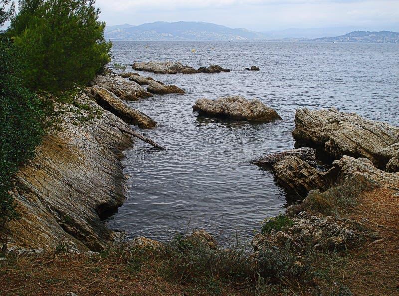 Iles de Lerins岩石 免版税库存照片