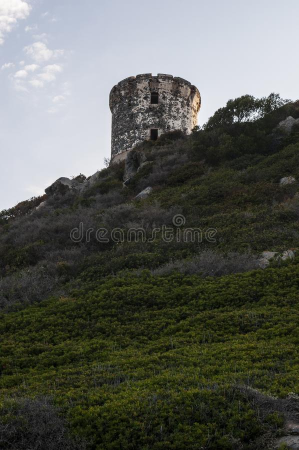 Iles Sanguinaires, Gulf of Ajaccio, Corsica, Corse, France, Europe, island. Corsica, 01/09/2017: sunset on La Parata Tower, a ruined Genoese tower built in 1608 royalty free stock photos