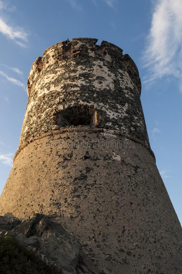 Iles Sanguinaires, Gulf of Ajaccio, Corsica, Corse, France, Europe, island. Corsica, 01/09/2017: sunset on La Parata Tower, a ruined Genoese tower built in 1608 stock photography