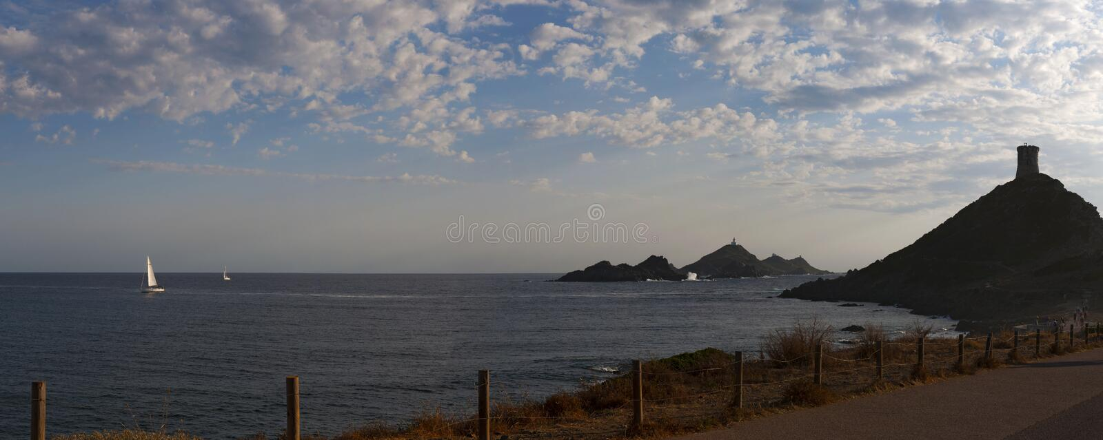 Iles Sanguinaires, Gulf of Ajaccio, Corsica, Corse, France, Europe, island. Corsica, 01/09/2017: sunset on La Parata Tower, ruined Genoese tower built in 1608 on stock image