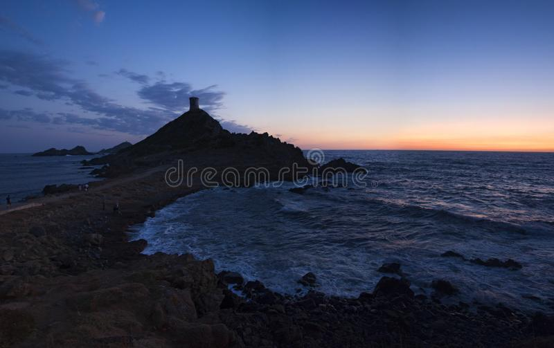 Iles Sanguinaires, Gulf of Ajaccio, Corsica, Corse, France, Europe, island. Corsica, 01/09/2017: sunset on La Parata Tower, a ruined Genoese tower built in 1608 stock images