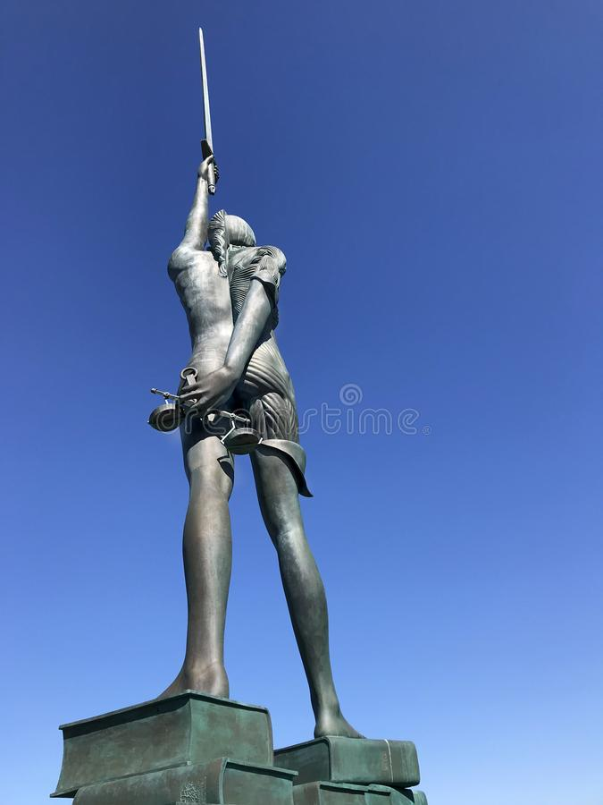 Verity Bronze Statue at Ilfracombe. Ilfracombe, Devon, United Kingdom September 18th 2019. Verity a bronze statue holding a sword & scales & is an allegory for stock photos