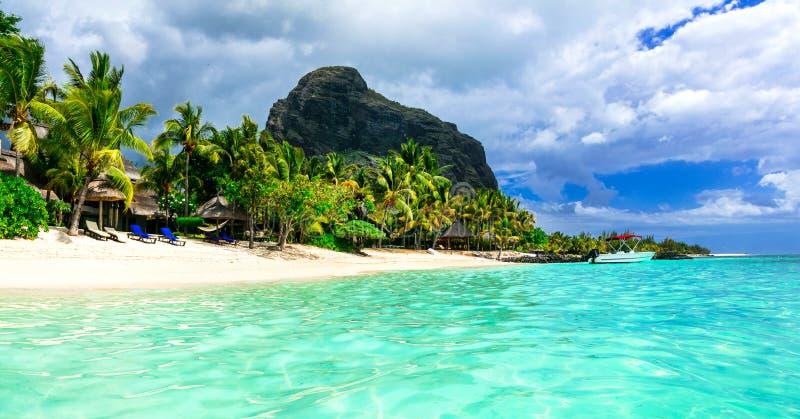 Ilha bonita de Maurícias Praia de Le morne foto de stock royalty free