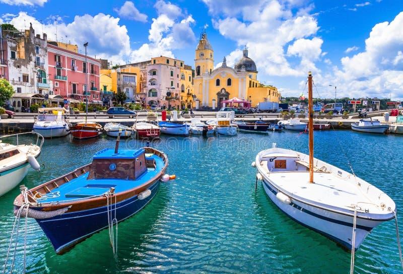 Ilha colorida no Campania, Itália de Procida imagem de stock royalty free