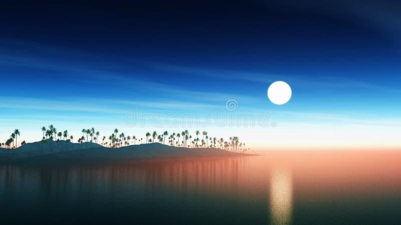 ilha 3D com as palmeiras no por do sol ilustração stock
