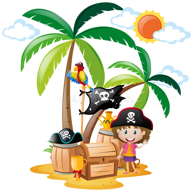 Ilha da menina e do tesouro do pirata ilustração do vetor