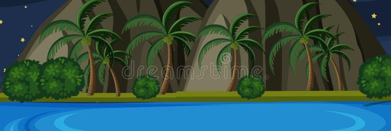 Ilha da natureza na cena da noite ilustração royalty free