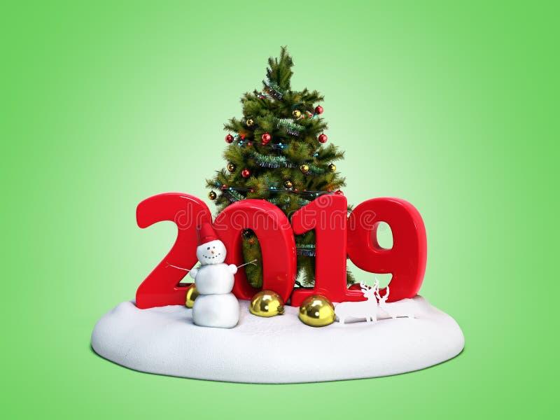 A ilha da neve do ano novo 2019 com boneco de neve e a árvore de Natal 3d rendem freen sobre ilustração stock