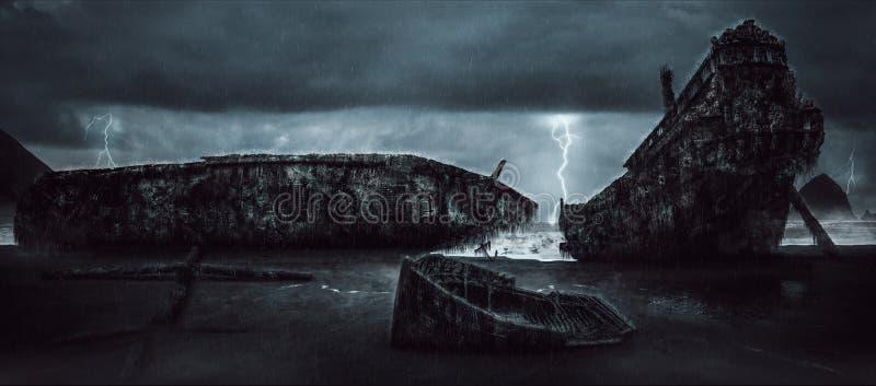 A ilha da zibelina envia o papel de parede do cemitério imagem de stock
