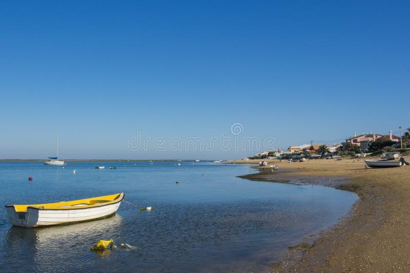 Ilha de法鲁,葡萄牙海岸  免版税图库摄影