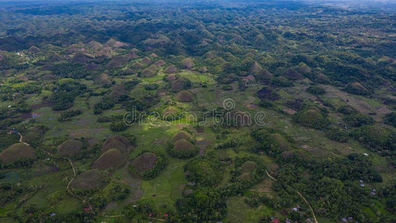 Ilha de Bohol dos montes do chocolate da vista a?rea, forma??o geological dos montes do chocolate na prov?ncia de Bohol das Filip fotografia de stock royalty free