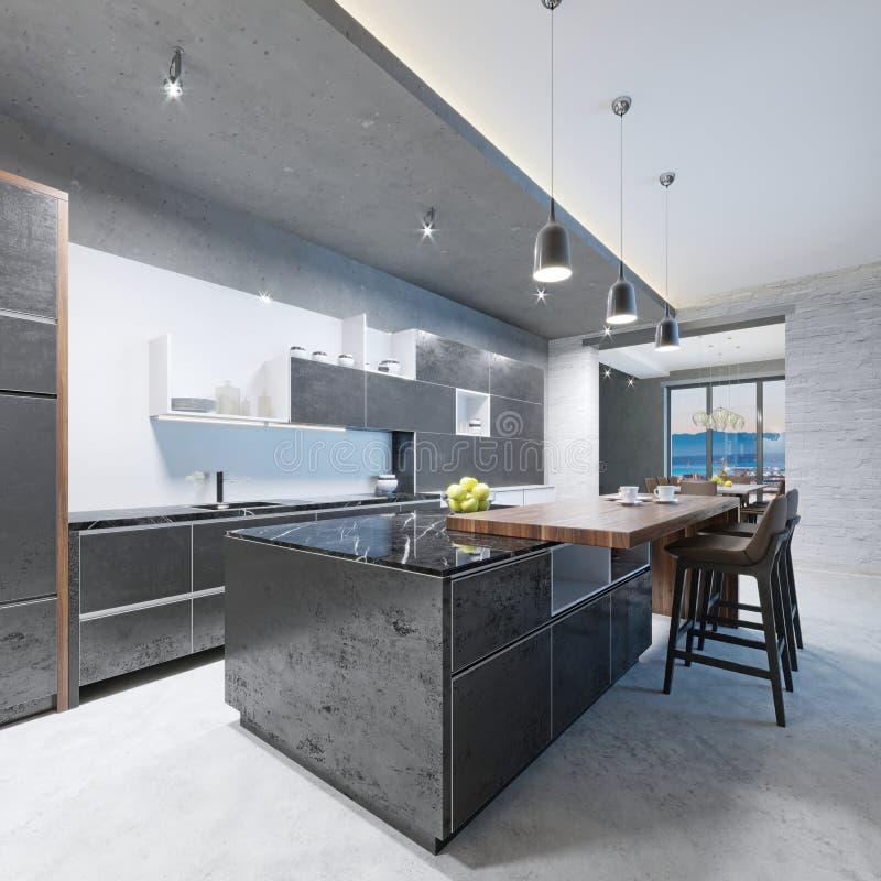 Ilha de cozinha longa da cozinha moderna com uma parte superior de madeira da barra com cadeiras ilustração royalty free