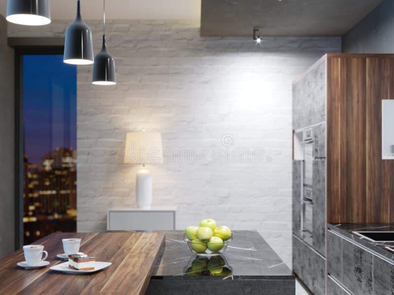 Ilha de cozinha longa da cozinha moderna com uma parte superior de madeira da barra com cadeiras ilustração stock