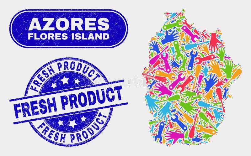 Ilha de Flores da produtividade do mapa de Açores e de selos frescos riscados do selo do produto ilustração do vetor