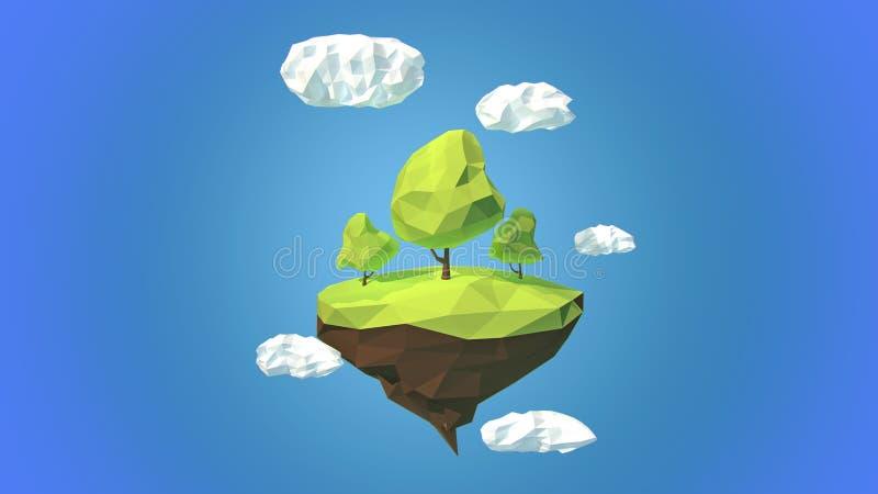 Ilha de flutuação com árvores e nuvens no céu ilustração do vetor