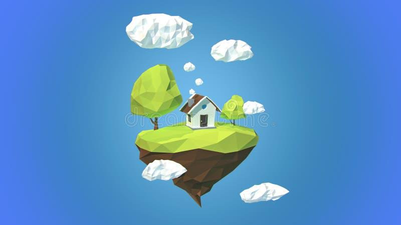 Ilha de flutuação com casa e nuvens no céu ilustração do vetor