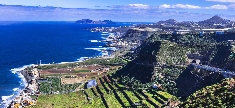 Ilha de Gran Canaria - vista panorâmica fotos de stock