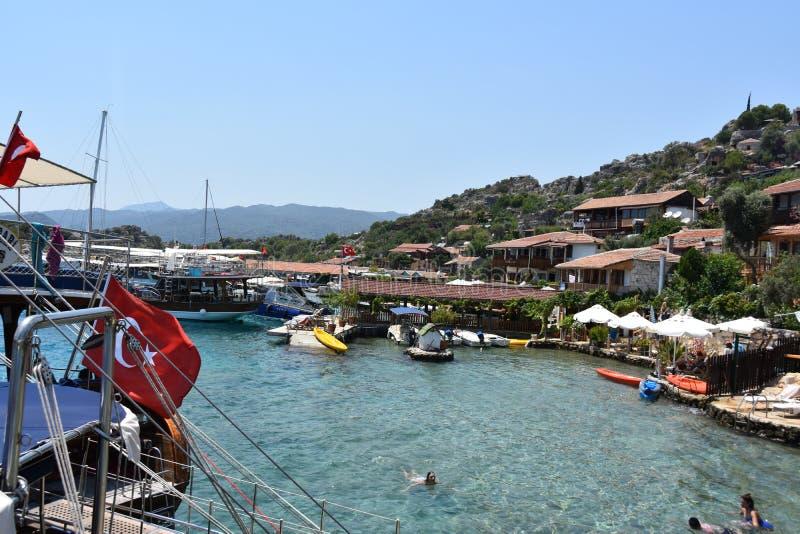 Ilha de Kekova e castelo de Simena, Kas Antalya Turkey imagens de stock