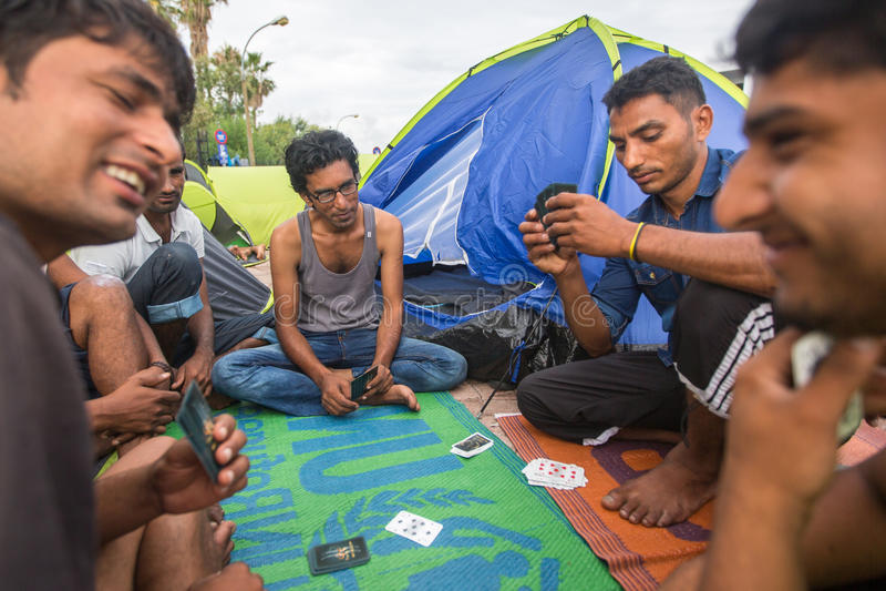 Ilha de Kos, Grécia - crise europeia do refugiado fotos de stock royalty free