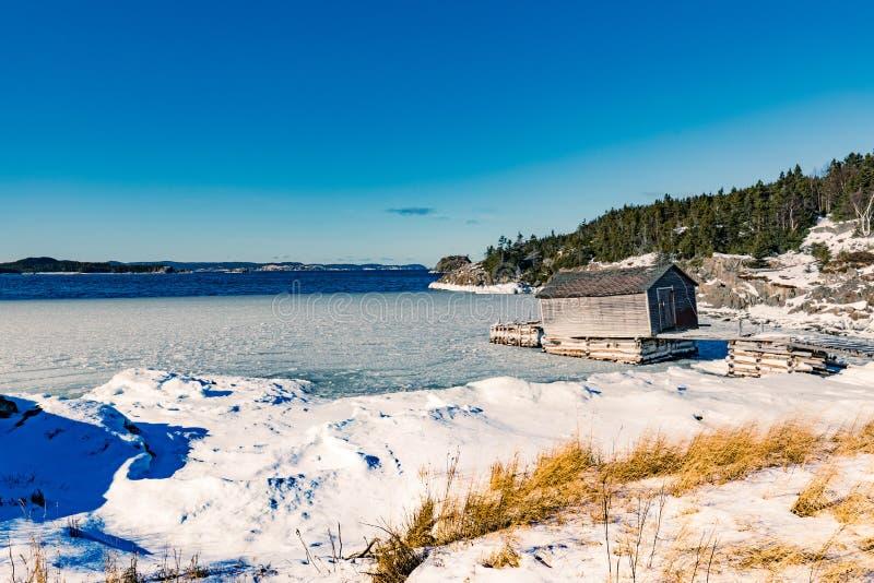 Ilha de mundo nova de pesca velha NL da barraca da fase Canadá imagens de stock