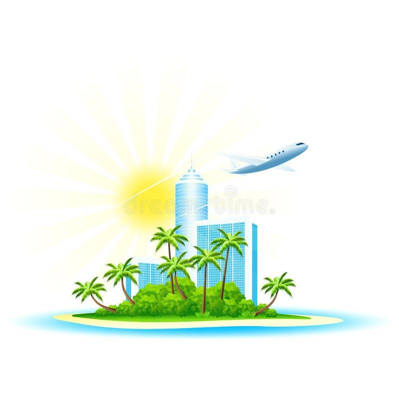 Ilha de palma verde com hotel e o Airbus modernos no branco ilustração royalty free