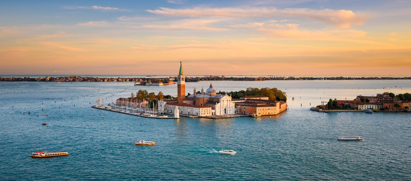 Ilha de San Giorgio Maggiore em Veneza, Itália foto de stock