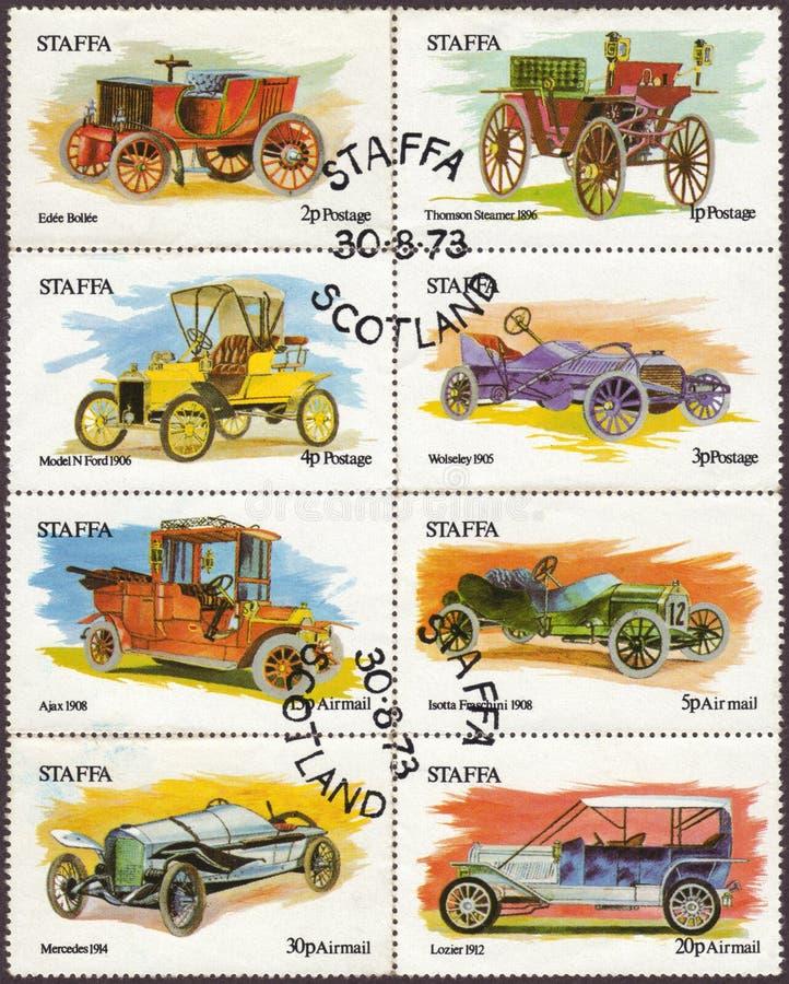 Ilha de selos postais de Staffa de carros do vintage fotografia de stock royalty free