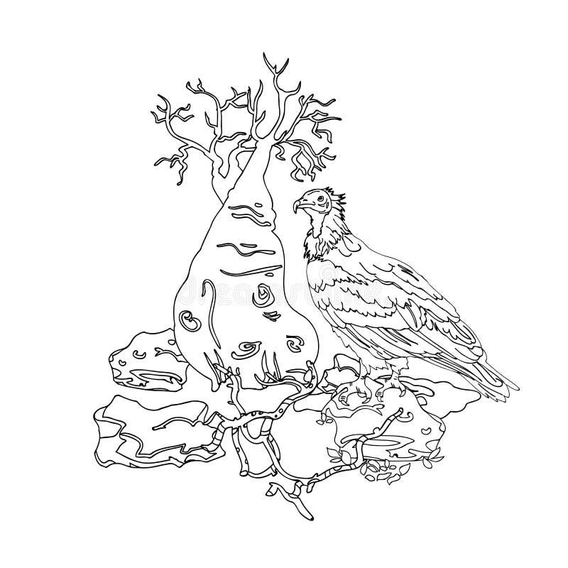 Ilha de Socotra do abutre na pedra, árvore da garrafa, ilustração stock