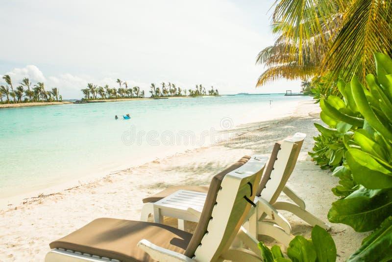 Ilha de surpresa em Maldivas, na casa de campo da água, na ponte de madeira, no Sandy Beach branco e nas águas bonitas de turques fotografia de stock
