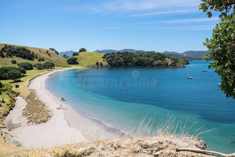 Ilha de Urupukapuka, baía das ilhas, Nova Zelândia, NZ - 1º de fevereiro imagem de stock