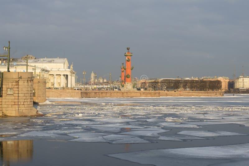 Ilha de Vasilevsky da seta St Petersburg, Rússia fotografia de stock royalty free