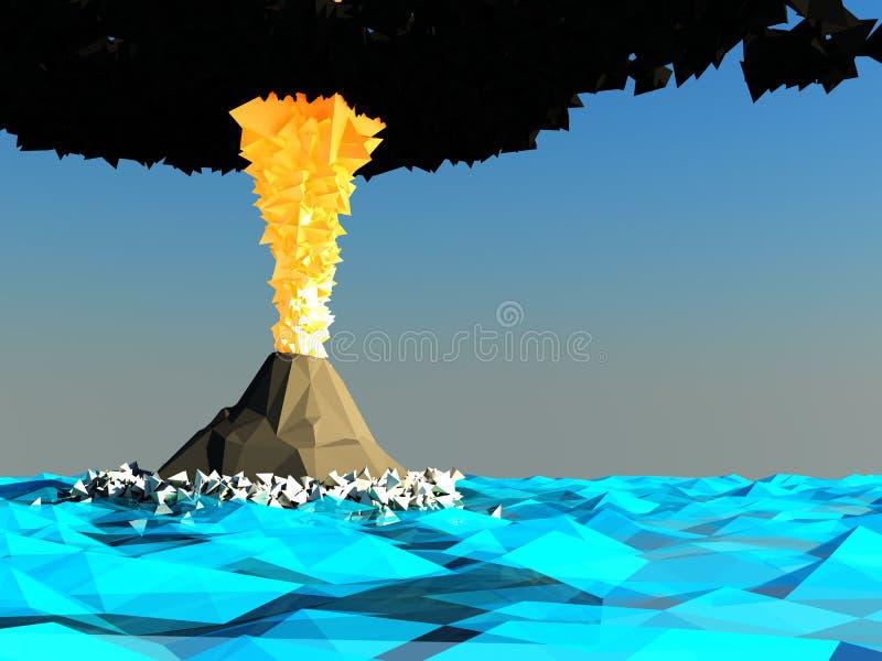 Ilha de vulcão ilustração stock