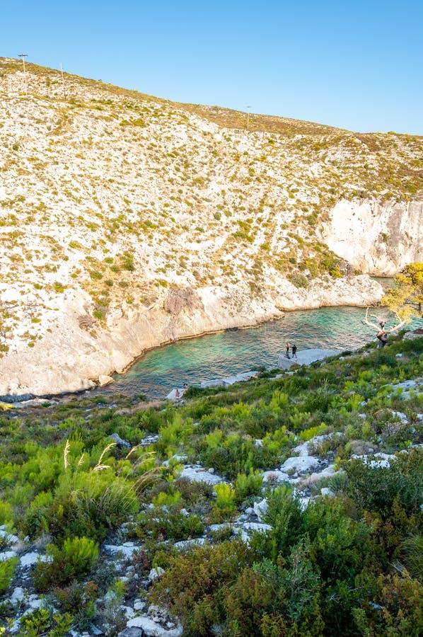 Ilha de Zakynthos, Gr?cia Uma p?rola do mediterr?neo com as praias e as costas apropriadas por feriados inesquec?veis do mar foto de stock