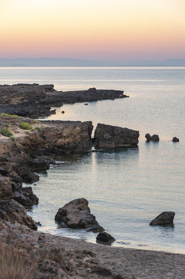 Ilha de Zakynthos, Gr?cia Uma p?rola do mediterr?neo com as praias e as costas apropriadas por feriados inesquec?veis do mar fotos de stock