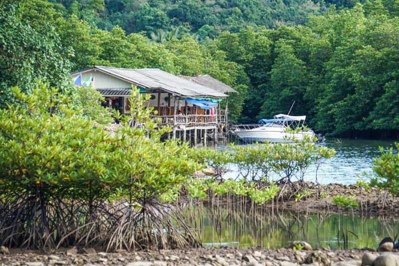 A ilha do kood do Koh, ao sul de Tailândia, areia do mar da água azul do cais apedreja a floresta dos manguezais, navio fotos de stock